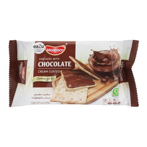 Monesco Crackers With Chocolate, Cream Coated, 120g