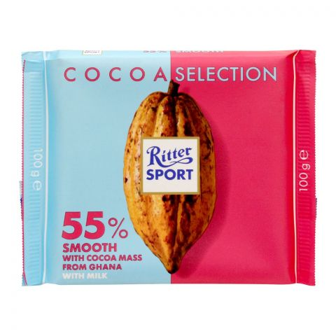 Ritter Sport Cocoa Selection 55% Smooth Chocolate, With Cocoa Mass From Ghana, 100g