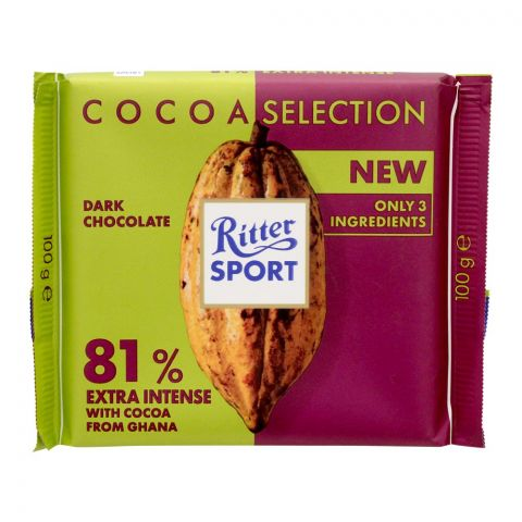Ritter Sport Cocoa Selection 81% Extra Intense Chocolate, With Cocoa From Ghana, 100g