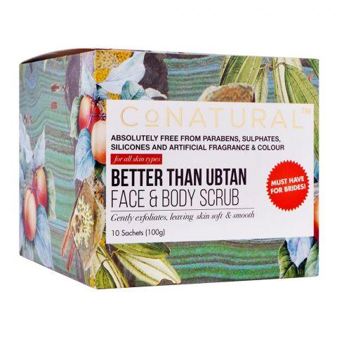 CoNatural Better Than Ubtan Face & Body Scrub, 10 Sachets, All Skin Types, 100g