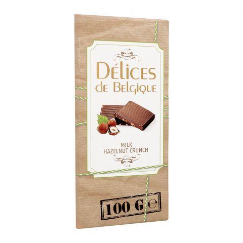 Delices De Belgique Milk Hazelnut Crunch Chocolate, 100g