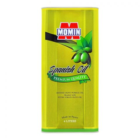 Momin Spanish Refined Olive Pomace Oil, Tin, 4 Liters