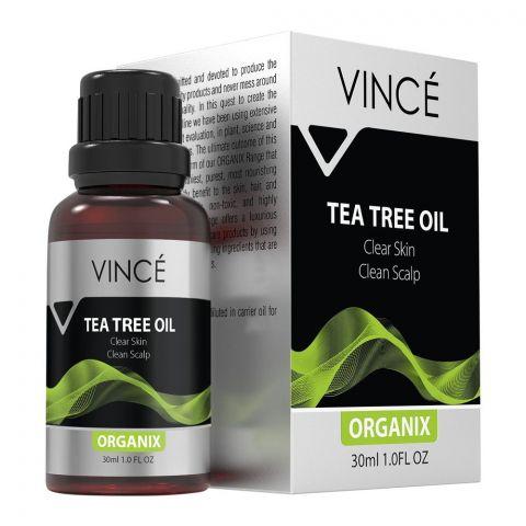 Vince Organix Tea Tree Oil, Clear Skin Clean Scalp, 30ml