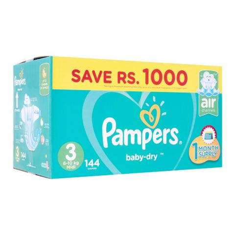 Pampers No. 3, Midi Mega Pack, 6-10 KG, 144 Pieces