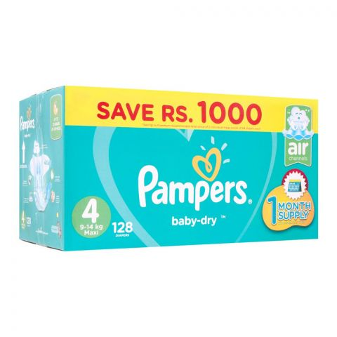 Pampers No. 4, Maxi Mega Pack, 9-14 KG, 128 Pieces
