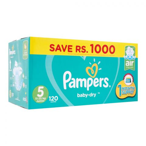 Pampers No. 5, Junior Mega Pack, 11-25 KG, 120 Pieces