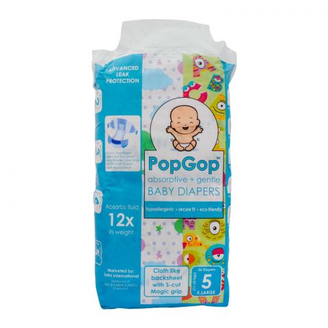 Pop Gop Baby Diapers, No. 5, XL, 11-25 KG, 36-Pack