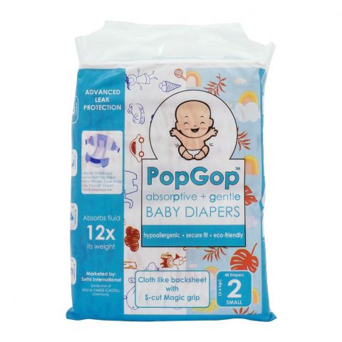 Pop Gop Baby Diapers, No. 2, Small, 3-6 KG, 48-Pack