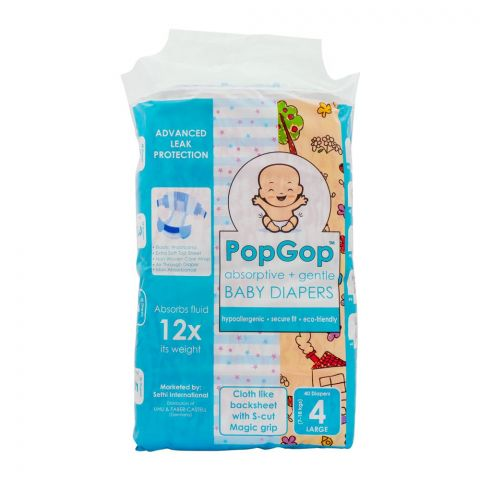Pop Gop Baby Diapers, No. 4, Large, 7-18 KG, 40-Pack