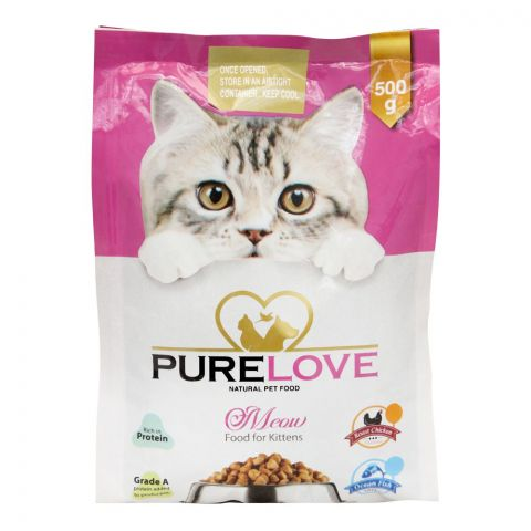 Pure Love Meow Kitten Food, Roast Chicken, Pouch, 500g