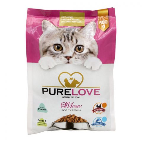 Pure Love Meow Kitten Food, Ocean Fish, Pouch, 500g