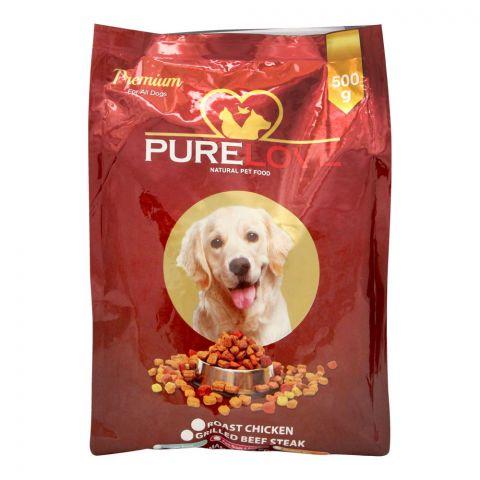 Pure Love Premium Dog Food, Roast Chicken, Pouch, 500g