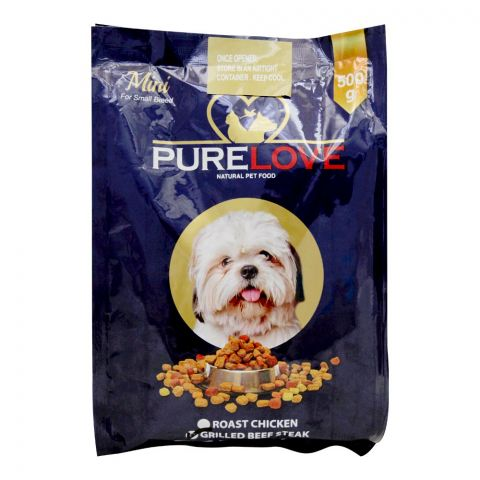 Pure Love Mini Dog Food, Grilled Beef Steak, Pouch, 500g