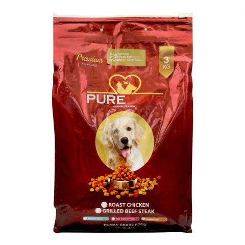 Pure Love Premium Dog Food, Roast Chicken, 3 KG
