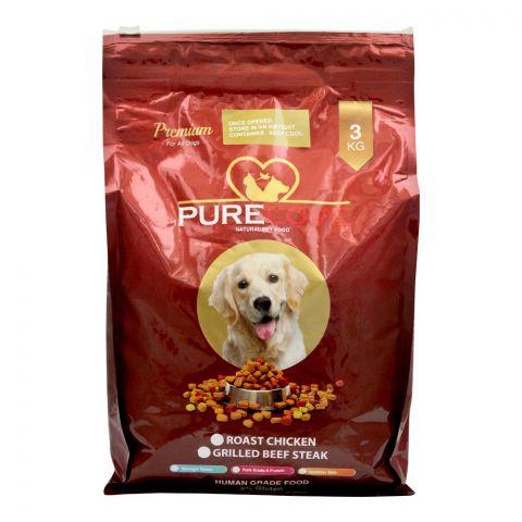 Pure Love Premium Dog Food, Grilled Beef Steak, 3 KG