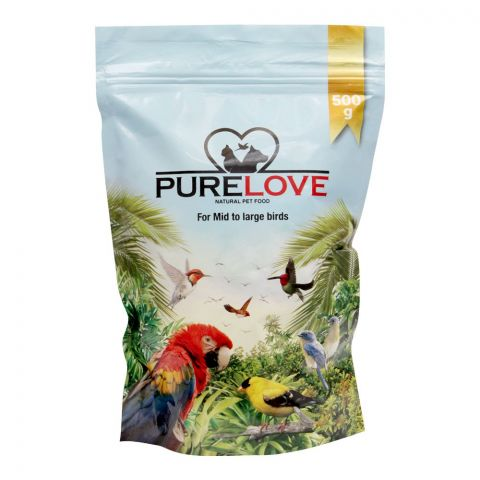 Pure Love Mid to Large Birds Food, Pouch, 500g