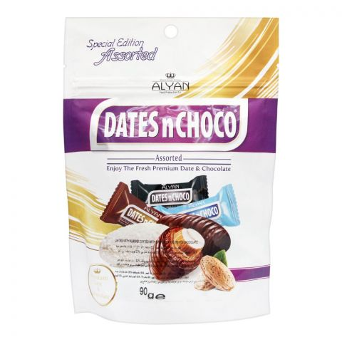 Alyan Dates n Choco Assorted Chocolate Coated Dates, Pouch, 90g