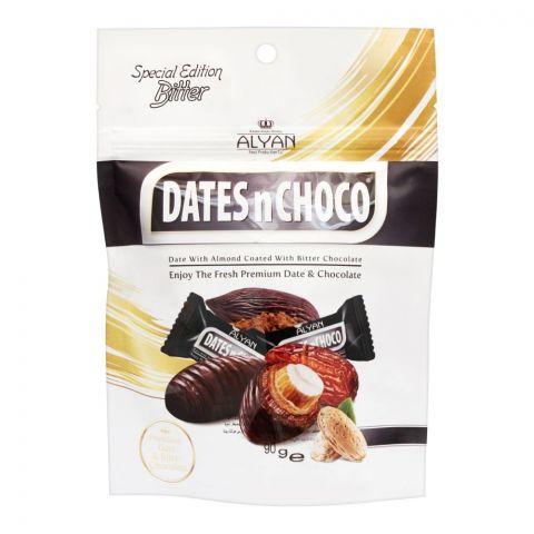 Alyan Dates n Choco Bitter Chocolate Coated Dates, Pouch, 90g