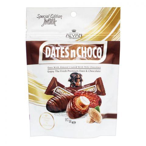 Alyan Dates n Choco Milk Chocolate Coated Dates, Pouch, 90g