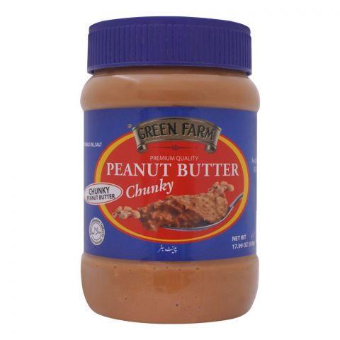 Green Farm Peanut Butter, Chunky, 510g