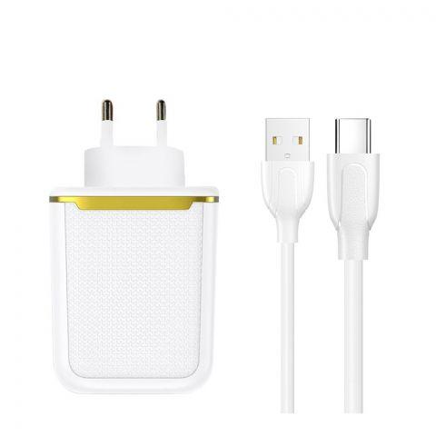 Joyroom USB Mini Dual Port Charger & Cable Set, White, L-2A12Z