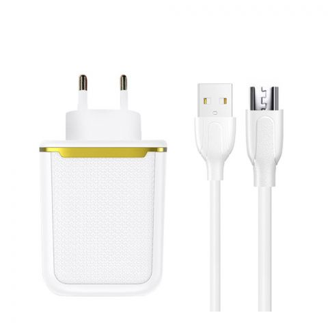 Joyroom Dual Port iPhone Lightening Charger & Cable Set, White, L-2A12Z