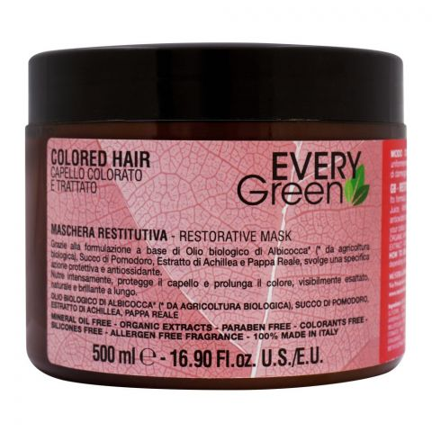 Every Green Colored Hair Restorative Hair Mask, Paraben Free, 500ml