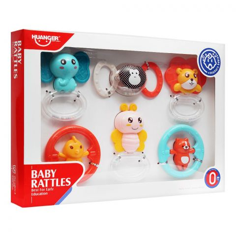 Huanger Baby Rattles, 6 Pieces, 0m+, HE0132