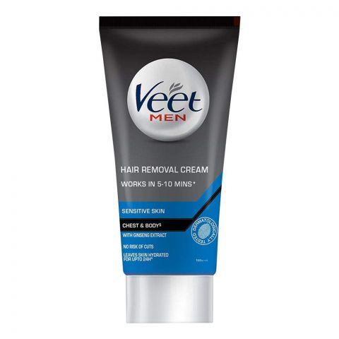 Veet Men Hair Removal Cream, Chest And Body, Sensitive Skin, 100g