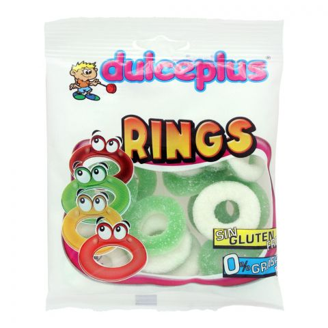 Dulceplus Sour Apple Rings Jelly, Gluten Free, Pouch, 100g