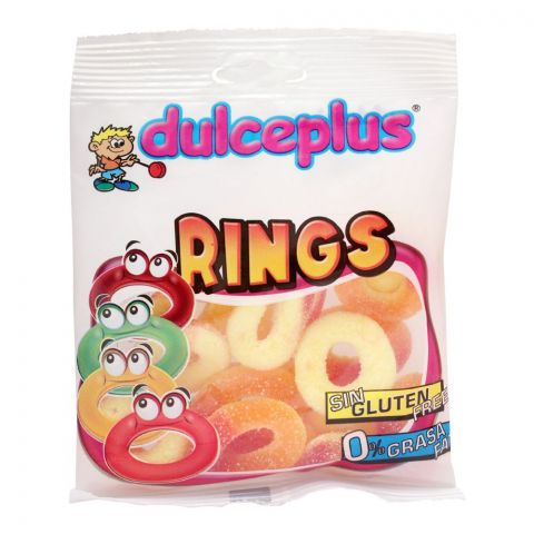 Dulceplus Sour Peach Rings Jelly, Gluten Free, Pouch, 100g