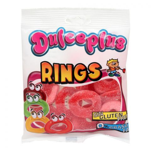Dulceplus Sour Strawberry Rings Jelly, Gluten Free, Pouch, 100g