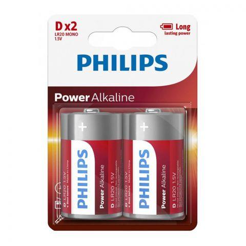 Philips Power Alkaline D Battery, 2-Pack, LR20 MONO