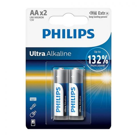 Philips Ultra Alkaline AA Battery, 2-Pack, LR6 MIGNON