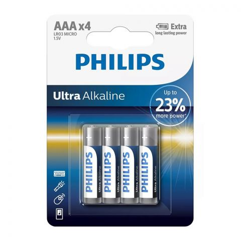 Philips Ultra Alkaline AAA Battery, 4-Pack, LR03 MICRO
