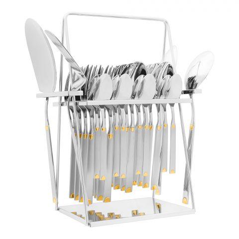 Elegant Half Dot Stainless Steel Cutlery Set, 28 Pieces, EE28GS-15
