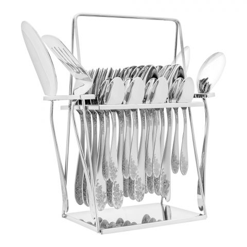Elegant Flower Stainless Steel Cutlery Set, 28 Pieces, EE28SS-02