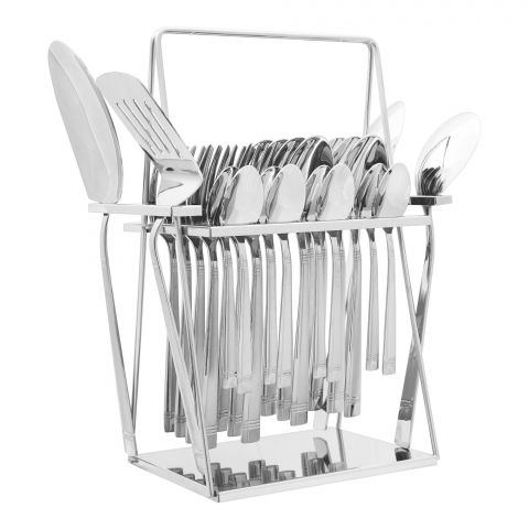Elegant Side Line Stainless Steel Cutlery Set, 28 Pieces, EE28SS-08
