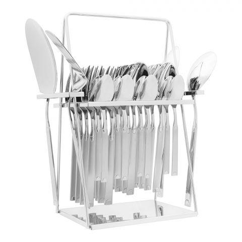 Elegant Half Dot Stainless Steel Cutlery Set, 28 Pieces, EE28SS-16