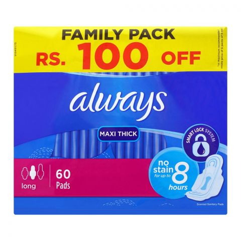 Always Maxi Thick Long, 60 Pads, Family Pack