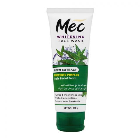 Mec Whitening Face Wash, Prevents Pimples, Daily Facial Foam, Neem Extract, 100g