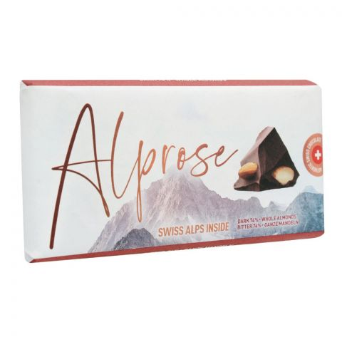 Alprose Swiss Alps Inside 74% Dark Chocolate Bar With Whole Almonds, 100g