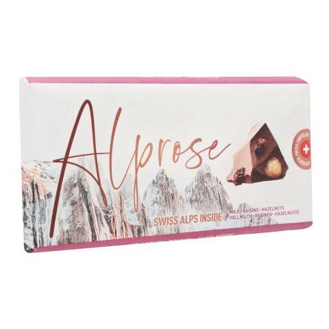Alprose Swiss Alps Inside Milk Chocolate Bar With Raisins & Hazelnuts, 100g