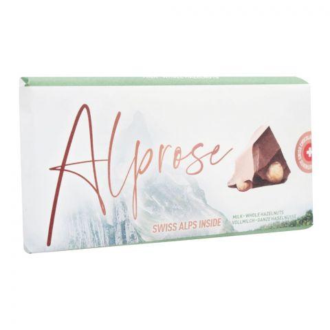 Alprose Swiss Alps Inside Milk Chocolate Bar With Whole Hazelnuts, 100g