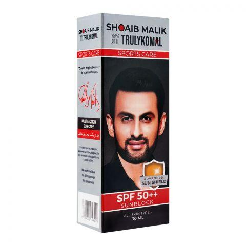 Shoaib Malik By Truly Komal Sports Care SPF 50++ Sunblock, All Skin Types, 30ml