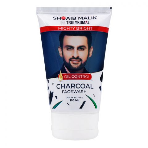 Shoaib Malik By Truly Komal Mighty Bright Oil Control Charcoal Face Wash, All Skin Types, 100ml