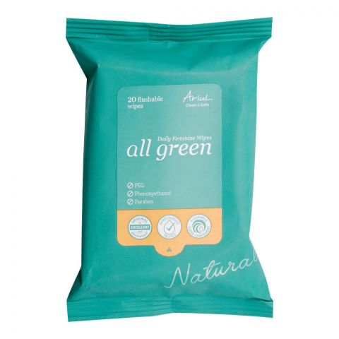 Ariul Clean & Safe All Green Daily Feminine Wipes, Paraben Free, 20-Pack