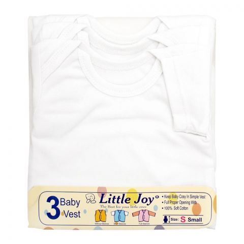 Little Joy Half Sleeves Kids's Cotton Vest, Round Neck, White, 3-Pack