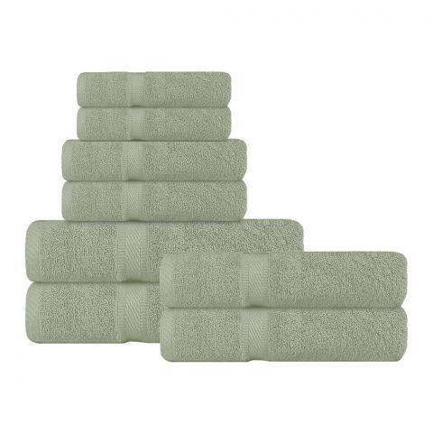 Soft Siesta Belem Bath + Hand + Wash Towel Set, Pack Of 8, Saga Green