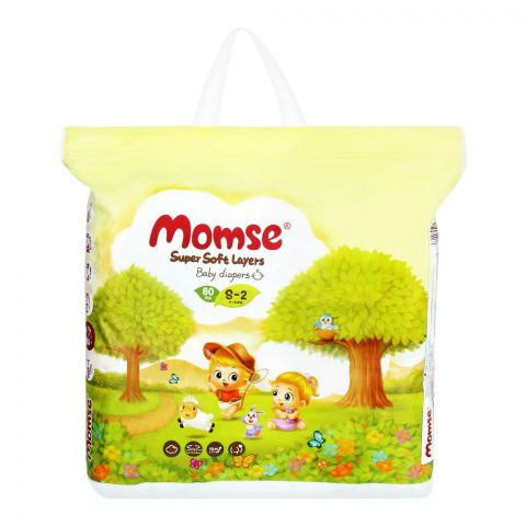Momse Baby Diapers, S-2, 4-8 KG, 80-Pack